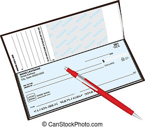 Checkbook ballpoint pen - Checkbook with a ballpoint pen...