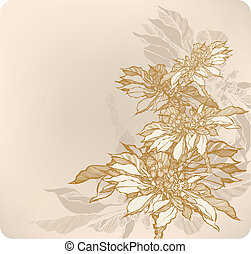 Floral abstract background with autumn flowers. Vector illustrat