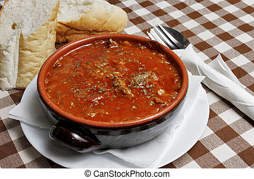 Traditional Balkan soup with bread - Image of Traditional...