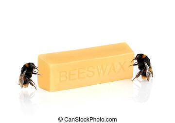Bumble Bees and Beeswax - Bumble bees next to a block of...