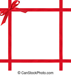 Red Ribbon and Bow - Red satin ribbon border with bow, over...