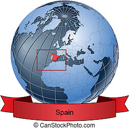 Spain, position on the globe Vector version with separate...