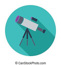 Telescope. Single flat color icon. Vector illustration.