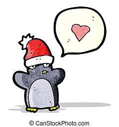 cartoon penguin in christmas hat