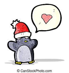 cartoon penguin in christmas hat