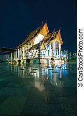 Wat Suthat Thepwararam the ancient temple at night