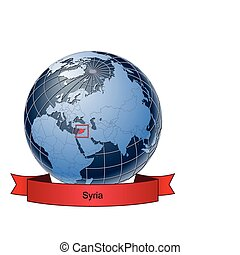 Syria, position on the globe Vector version with separate...