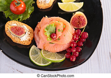smoked salmon with vegetables