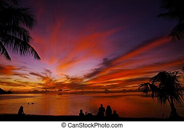 Guam/Sunset - Sunset By James B Clark