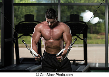 Chest Workout Cable Crossover - Bodybuilder Is Working On...