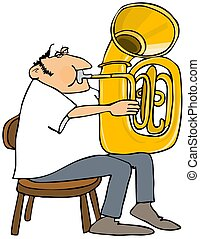 Tuba player - This illustration depicts a man playing a...