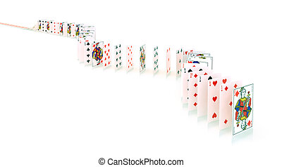 playing cards in the queue