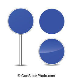 Vector blue blank signs - Vector illustration of blue round...