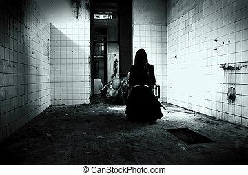 horror, cena, assustador, mulher