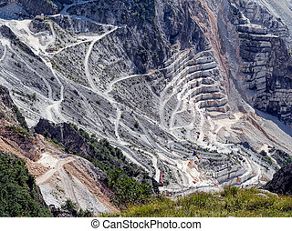 Fantastic view of marble quarry, near Carrara, Italy....
