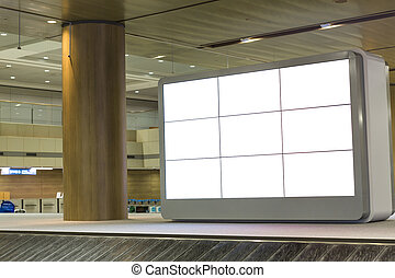 Blank advertising panel on airport