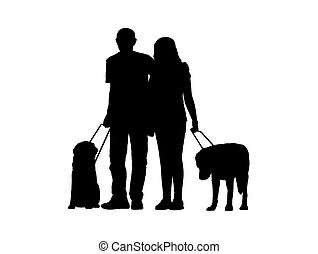 blind couple with dogs silhouette - silhouette of a couple...