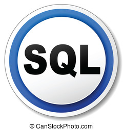 Vector sql icon - Vector illustration of sql white and blue...