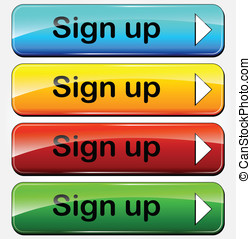 Vector sign up buttons