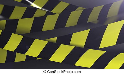 Under construction Caution tape. Shallow Depth of field. Matte channel included.