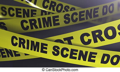 Crime scene yellow tapes. Shallow Depth of field. Matte...