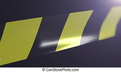 Black and yellow caution tape. Shallow Depth of field. Matte...