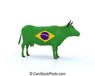 brasil cow 3d illustration