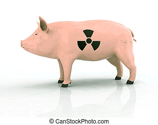 símbolo, piel, radioactivo, cerdo
