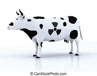 cow with a radioactive symbol, 3d illustration