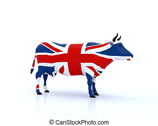 english cow 3d illustration