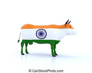 indian cow with flag 3d illustration