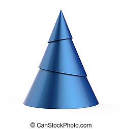 Blue stylized Christmas tree isolated on white background