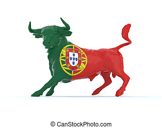 Portuguese bull with flag