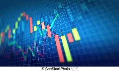 Stock Market Chart on blue background. Shallow Depth of Field. Loop ready.