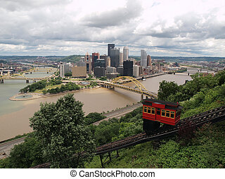 Pittsburgh Pennsylvania river view, incline railroad and...