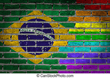 Dark brick wall - LGBT rights - Brazil - Dark brick wall...
