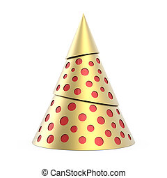 Gold stylized Christmas tree with red decoration