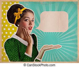 Retro pretty woman on old background for text - Retro pretty...