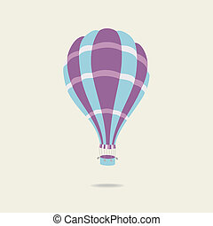 Vector illustration of hot air balloon on the sky