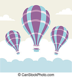 Vector illustration of hot air balloons on the sky