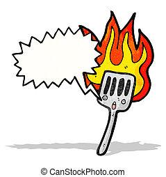 flaming hot spatula cartoon