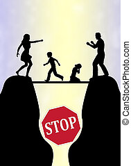 Stop the Family Fight - Concept sign to avoid or end...
