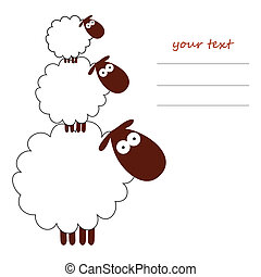 card with three white sheep and place for text