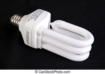 Energy Efficient Light Bulb, isolated on a black background