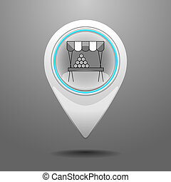Glossy Market Icon - Glossy Pin Icon with the Symbol of...