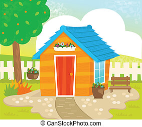 Garden Shed - Orange shed with blue roof, flowers and a...