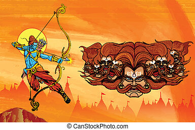 Lord Rama with bow arrow killimg Ravana - illustration of...