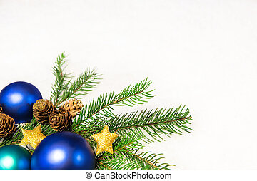 christmas card with blue balls and snowy background
