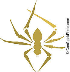 Spider Silhouette - Small spider in Silhouette in orange and...