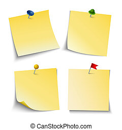 Note paper with push colored pins template